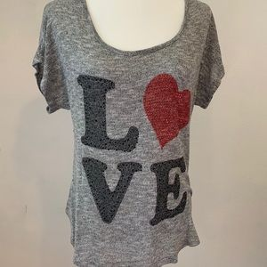"""Wet Seal Short Sleeve Sequin Graphic """"Love"""" Large"""
